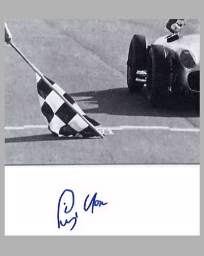 Juan Manuel Fangio & Stirling Moss 1955 British GP b&w autographed photograph 3