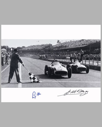 Juan Manuel Fangio & Stirling Moss 1955 British GP b&w autographed photograph