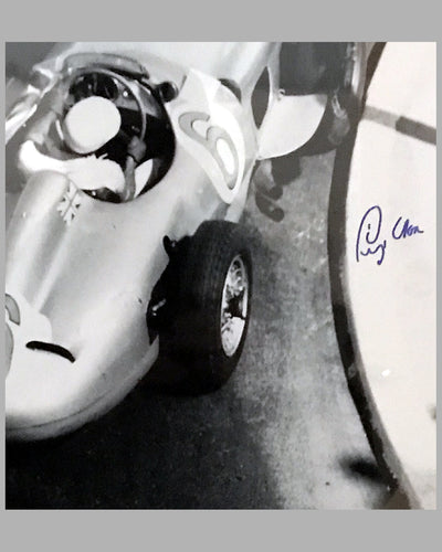 1955 Monaco Grand Prix b&w autographed photographs 3