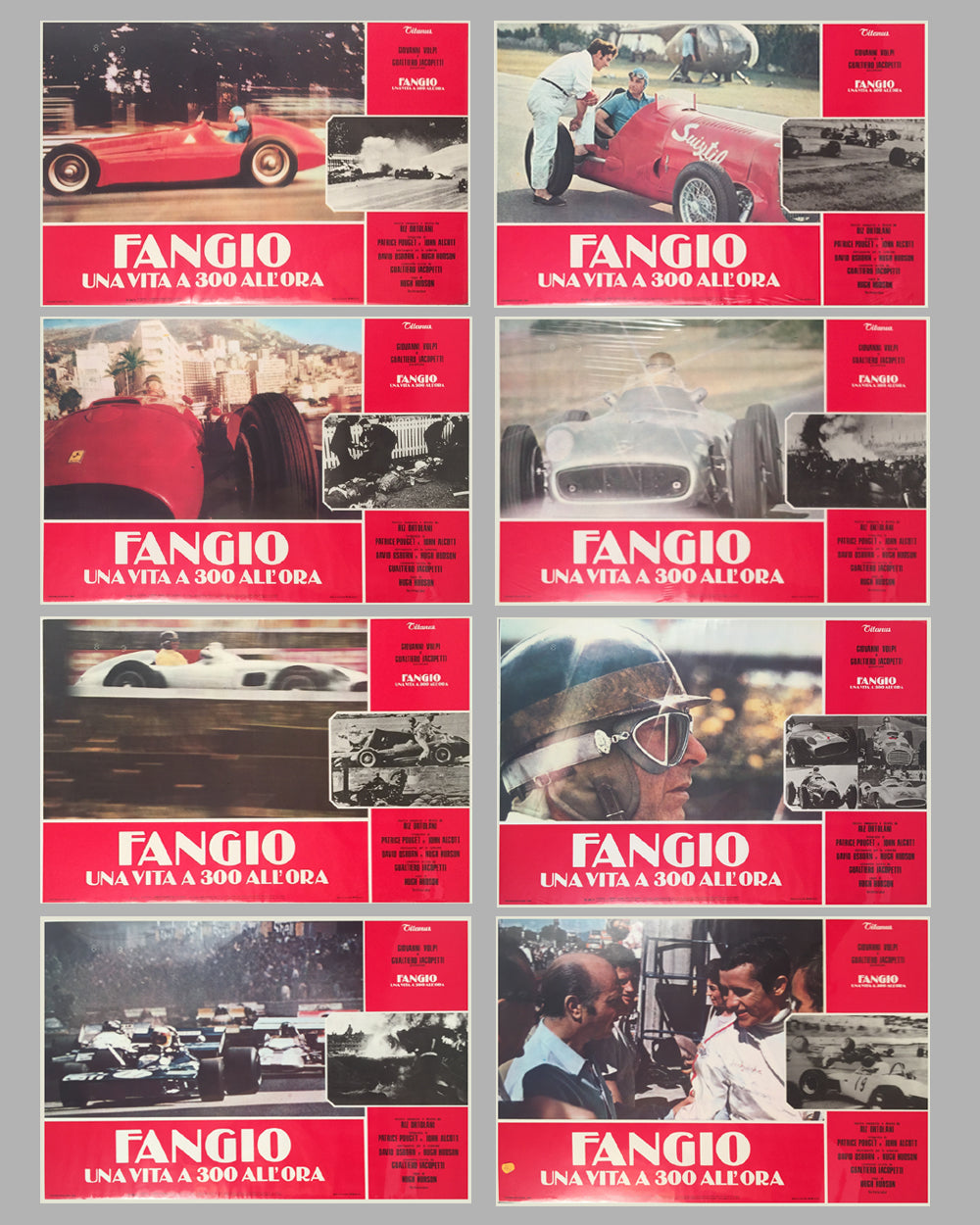 Fangio Una Vita a 300 All'ora collection of 8 lobby movie posters, 1981