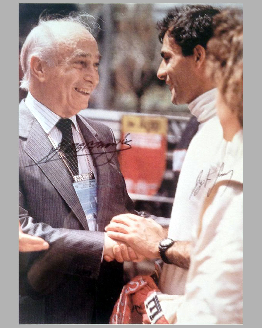 Monaco Grand Prix autographed photo of Fangio and Ayrton Senna, autographed by both drivers