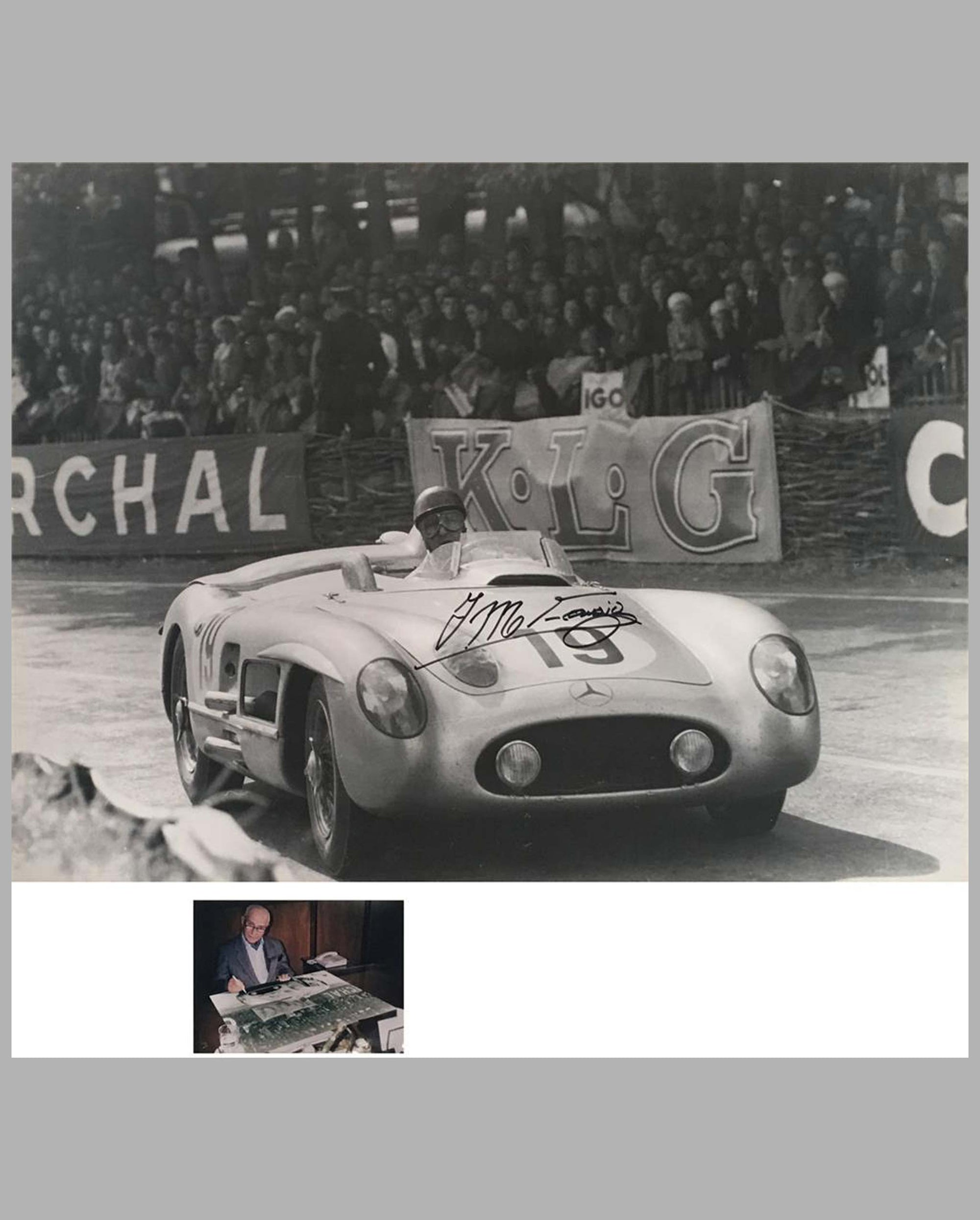 1955 - 24 Hours of Le Mans photograph of Juan Manuel Fangio's Mercedes 300 SLR, autographed by driver