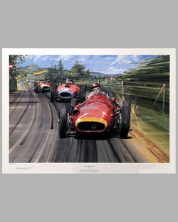 Fangio - The Maestro print by Nicholas Watts, autographed by Juan Manuel Fangio