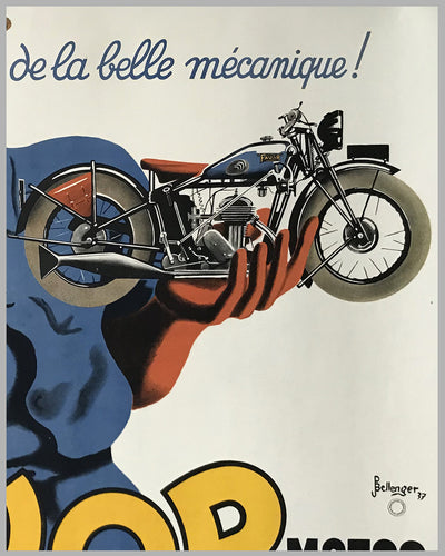 Favor Cycles - Motos large original advertising poster by Bellenger, 1937 2