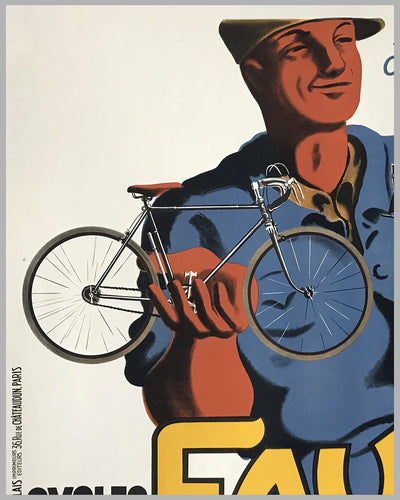 Favor Cycles - Motos large original advertising poster by Bellenger, 1937 3