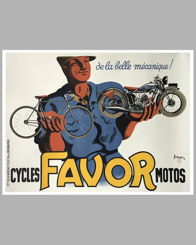 Favor Cycles - Motos large original advertising poster by Bellenger, 1937