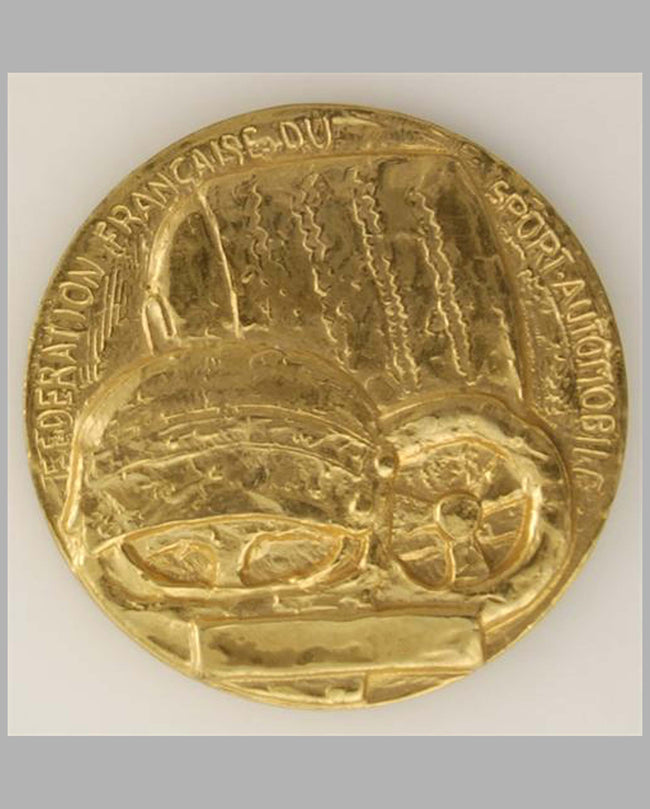 Federation Francaise du Sport Automobile gold-plated bronze medaillon