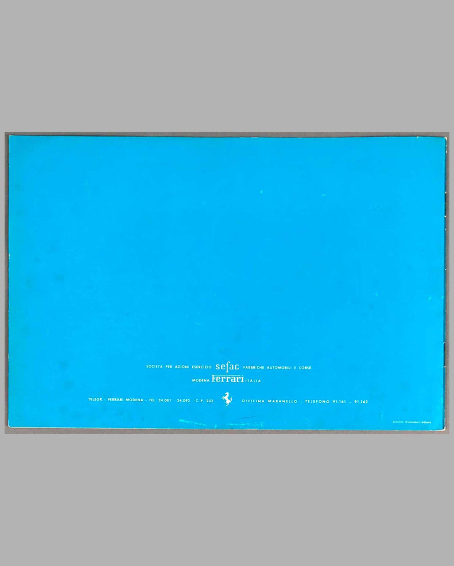 Ferrari 250 GTE 2+2 Factory Sales Brochure back cover