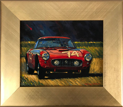 Ferrari 250 SWB competition oil on artboard painting by Barry Rowe