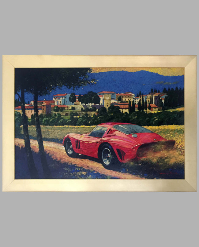 Ferrari 250 GTO in Altimino Tuscany, Acrylic Painting on Canvas by Barry Rowe