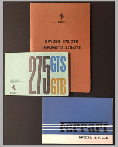 Three Ferrari 275 Granturismo Spyder original factory publications