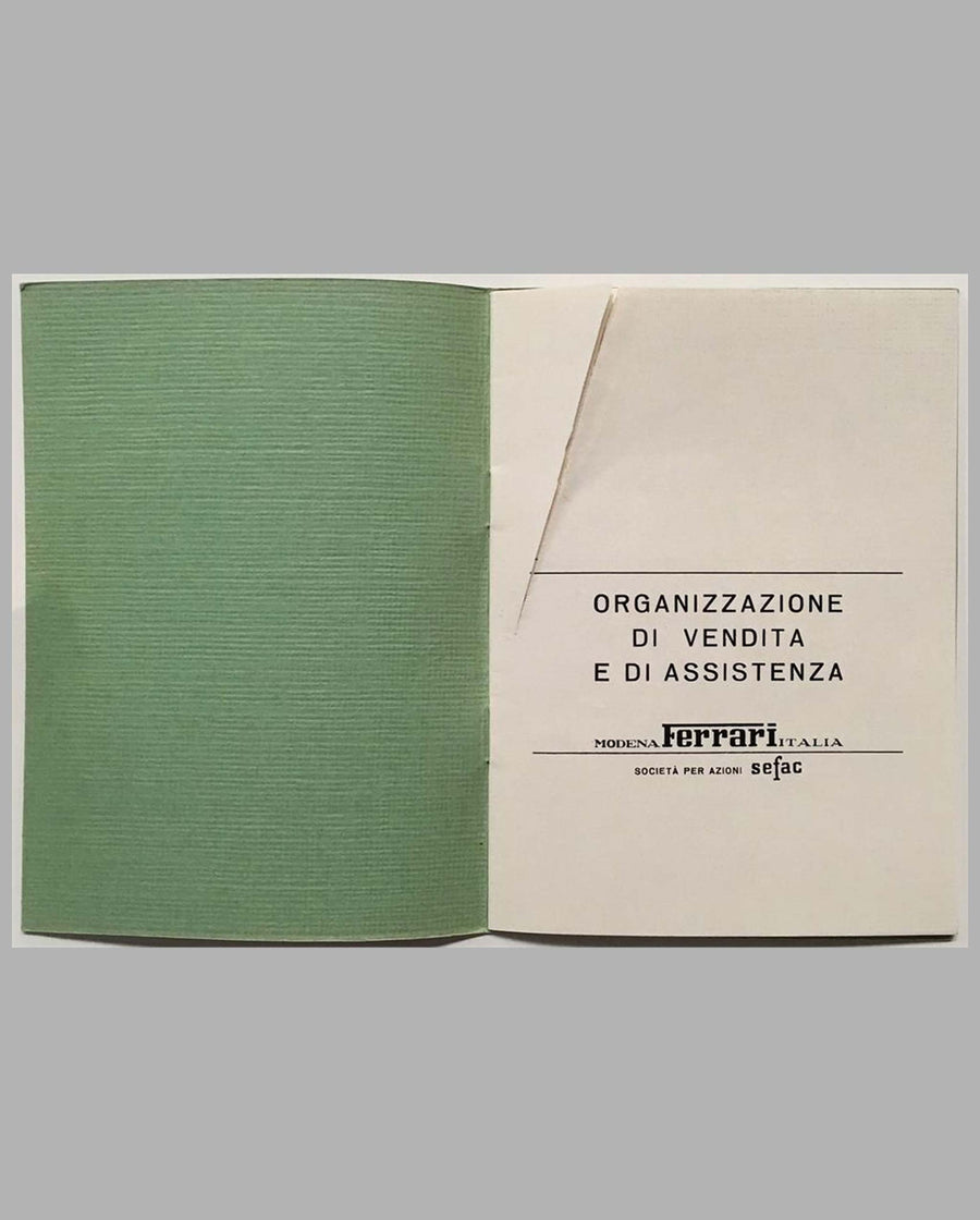 Ferrari Dino dealers directory factory original title page