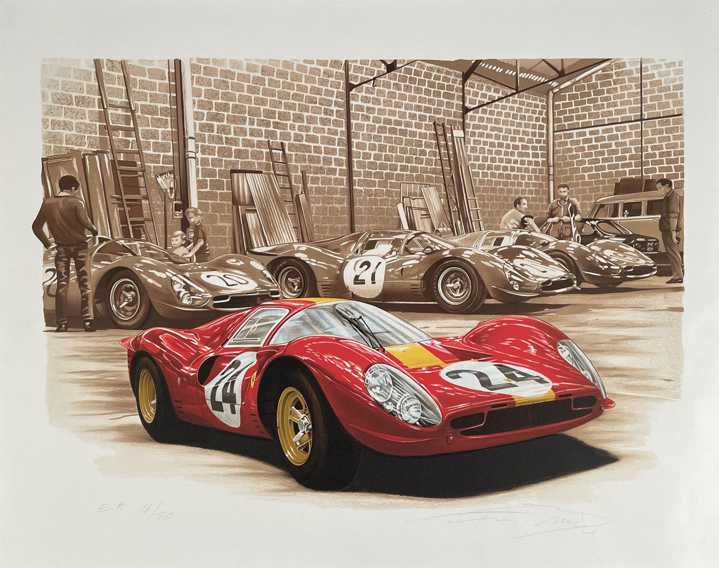 Ferrari garage at 1967 Le Mans print by Francois Bruere