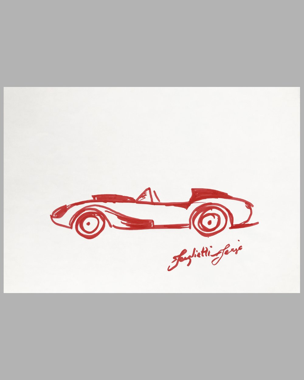 Ferrari 250 TR magic marker sketch by Sergio Scaglietti