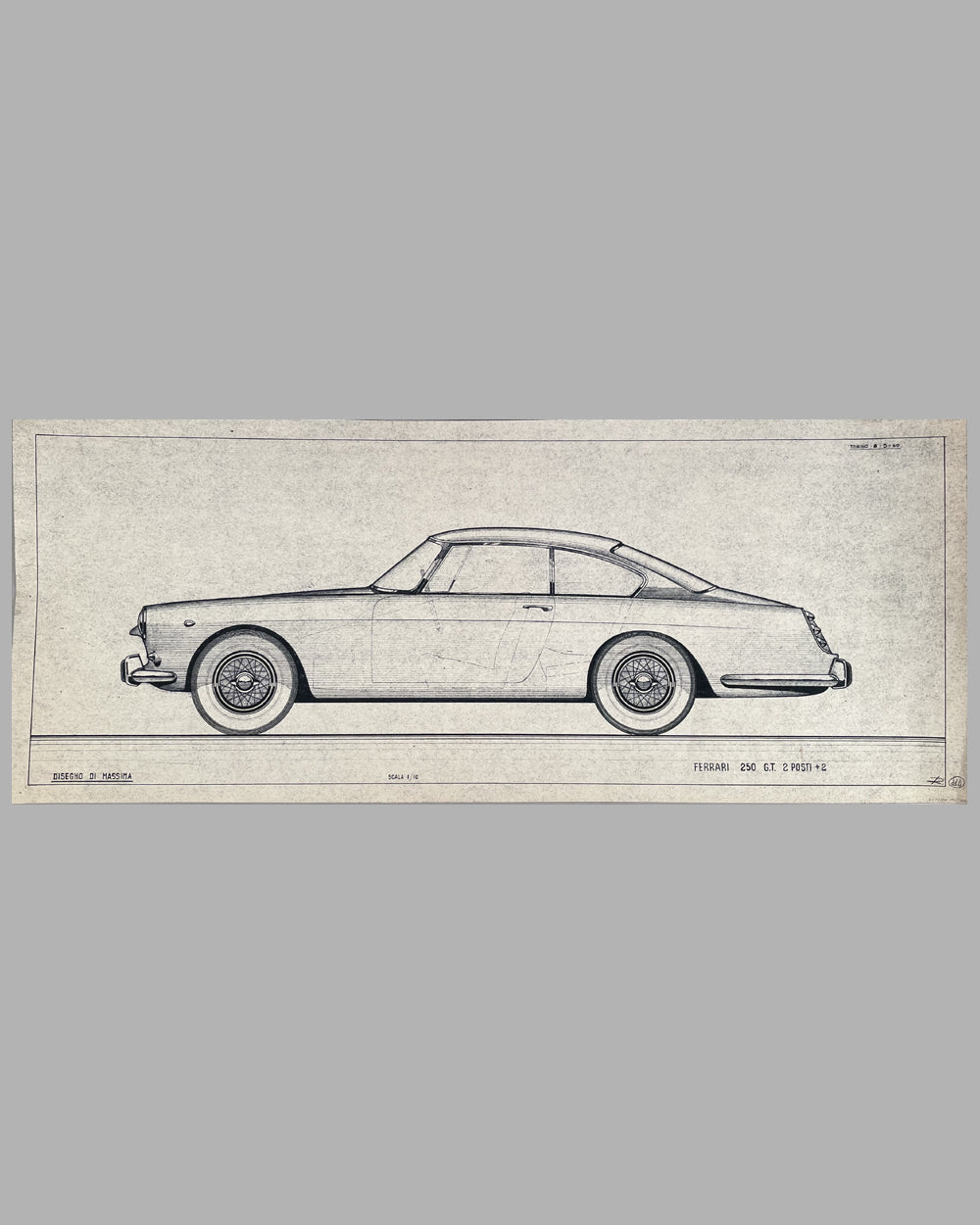 Ferrari 250 GT 2+2 original working blueprint, 1960, by the Pininfarina Studio