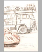 Ferrari 330 P at Le Mans 1964 drawing by François Bruère, France 2