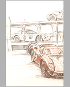 Ferrari 330 P at Le Mans 1964 drawing by François Bruère, France 3