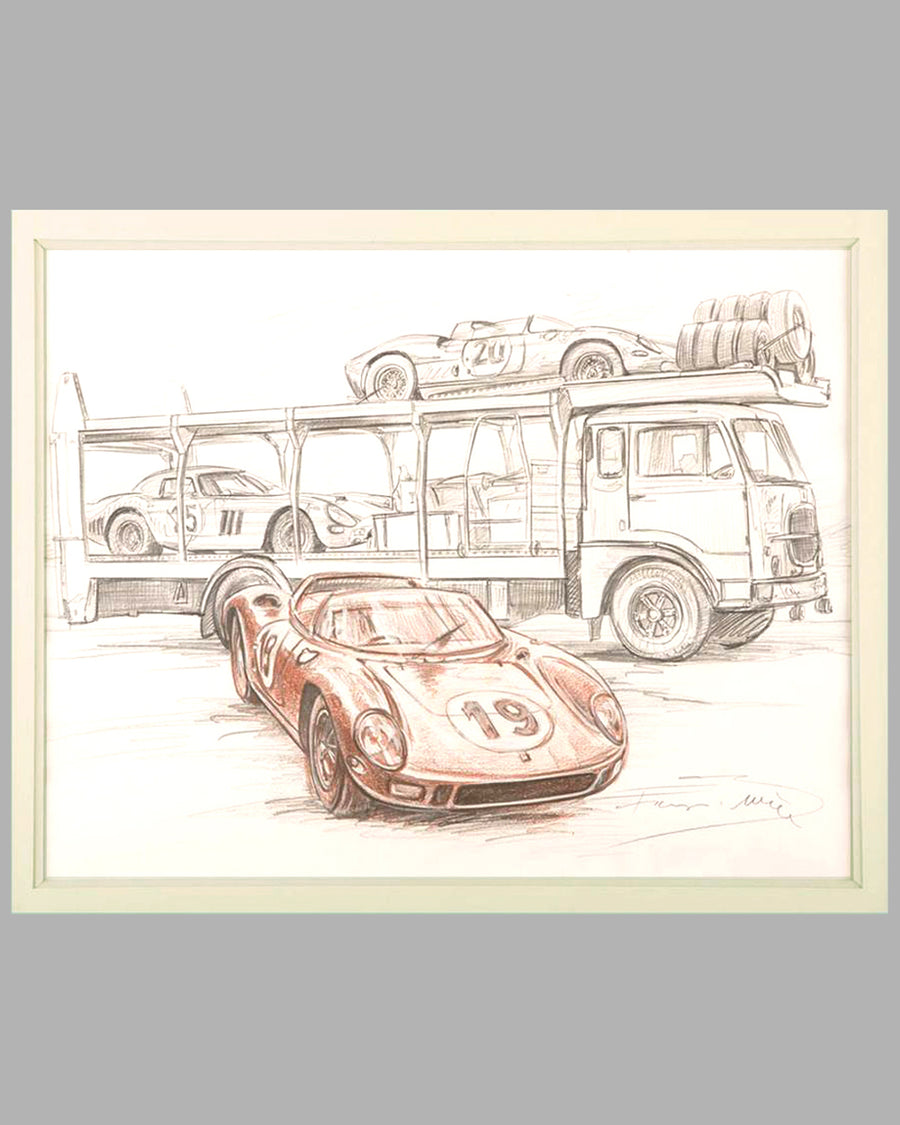 Ferrari 330 P at Le Mans 1964 drawing by François Bruère, France