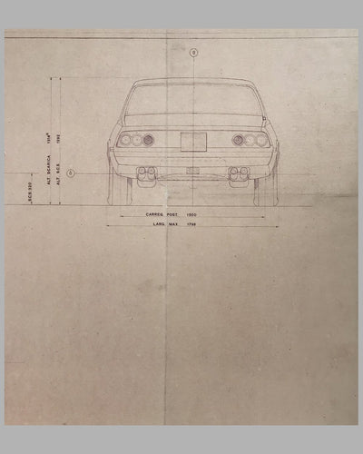 Ferrari 365 GT4 Carrozzeria Pininfarina original working blueprint 3