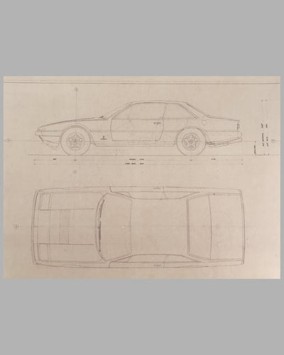 Ferrari 365 GT4 Carrozzeria Pininfarina original working blueprint