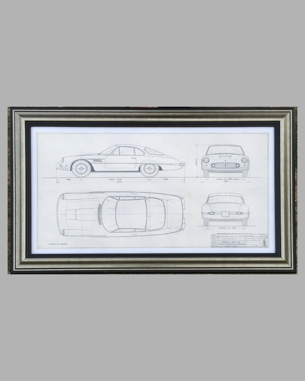 Ferrari 400 SA original Pininfarina studio drawing