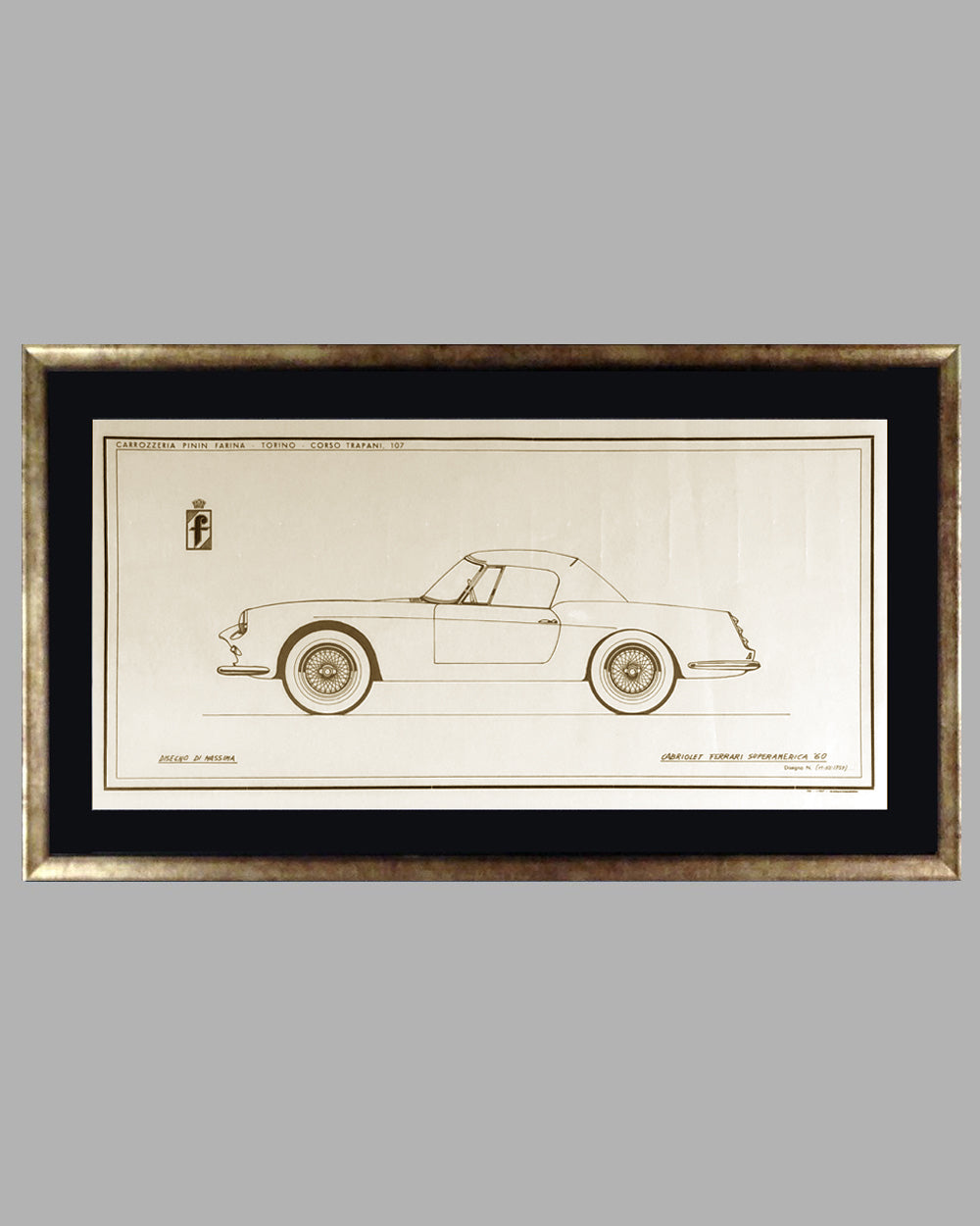 1960 Ferrari Superamerica Cabriolet China Ink Original Drawing by the Pininfarina Studio