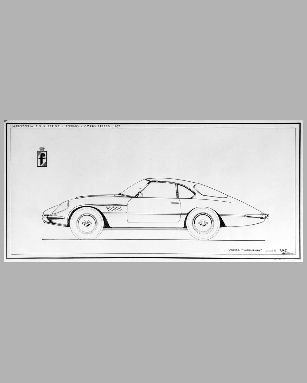 Ferrari Superamerica original China ink drawing by the Pininfarina Studio