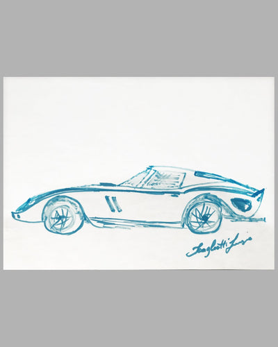 Ferrari 250 GTO magic marker sketch by Sergio Scaglietti