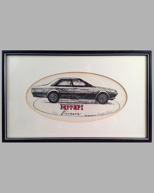 Ferrari Pinin etching by Randy Owens