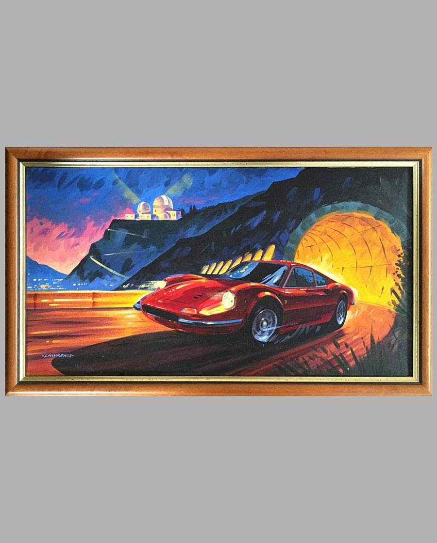 """Fire in the Sky"" Ferrari 246 Dino Coupe acrylic painting on canvas by Joe Lawrence"