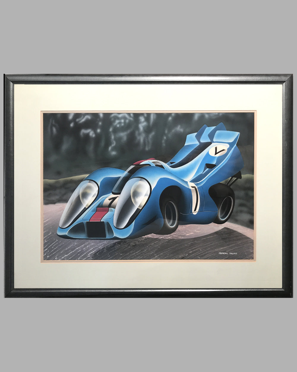 Flying Porsche 917 airbrush painting by Frederic Tellier