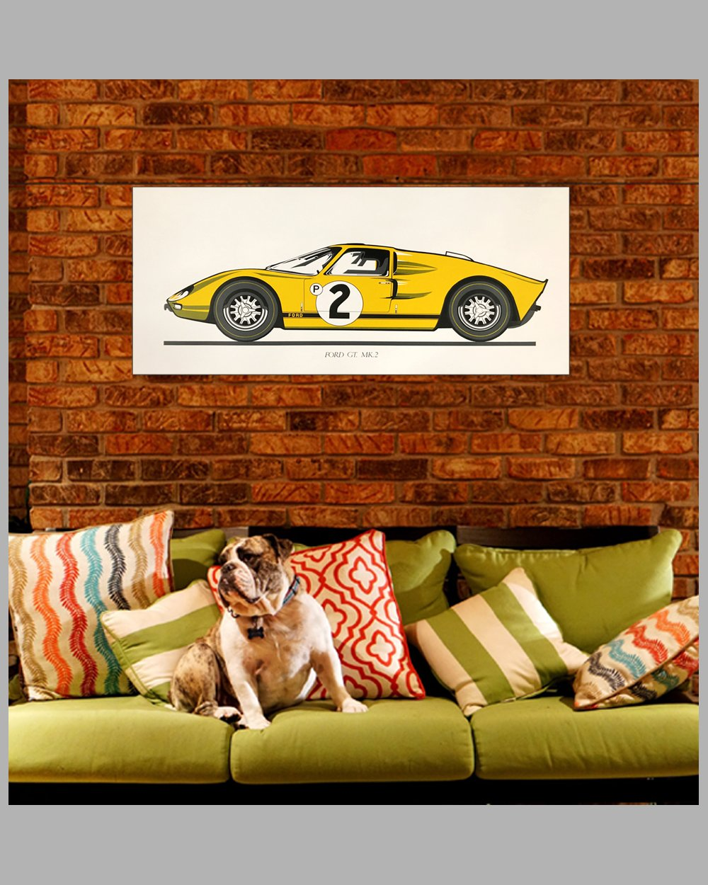 Large Ford GT Mk 2 print, late 1960's