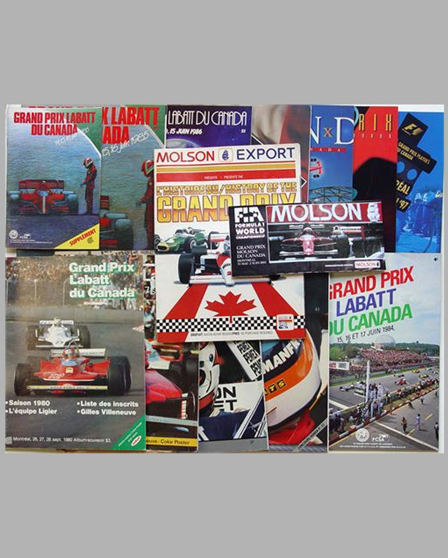 Fourteen Canadian GP official event programs and related publications