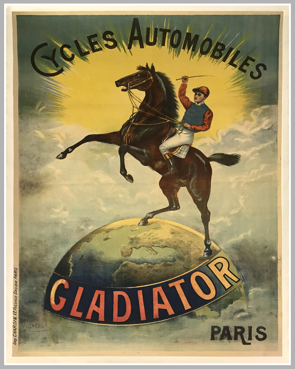 Cycles Automobiles Gladiator large original poster ca. 1905 by Vigneres