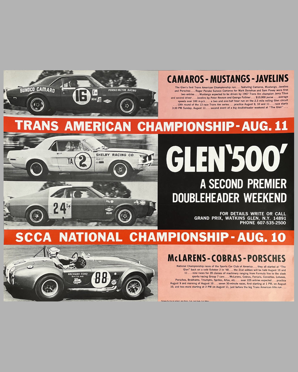 Glen 500 1968 original poster for the Trans Am Championship & SCCA National Championship