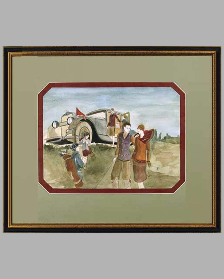 "Golfing Date with a Lincoln painting, watercolor on paper, features a pair mid-1920's co-ed couples on the golf course with the Model L sedan awaiting at the top of a hill, while the young caddies haul the golf bags for the players, signed lower right, framed and matted, image size 13"" x 9.75"", A- cond., (minor nicks on frame)."