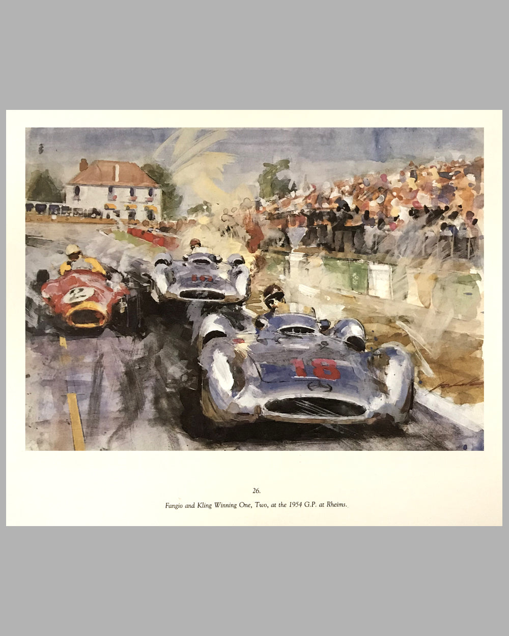1954 Grand Prix of France in Reims print by Walter Gotschke