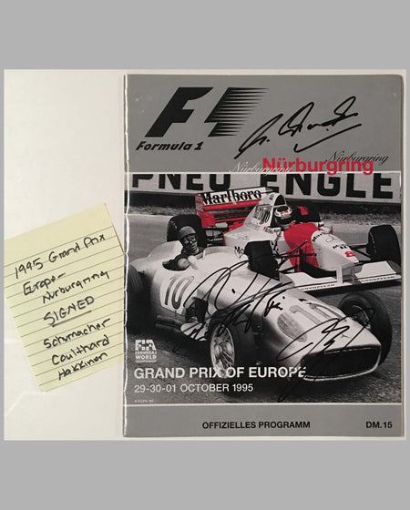 Grand Prix of Europe 1995 official program, autographed, cover