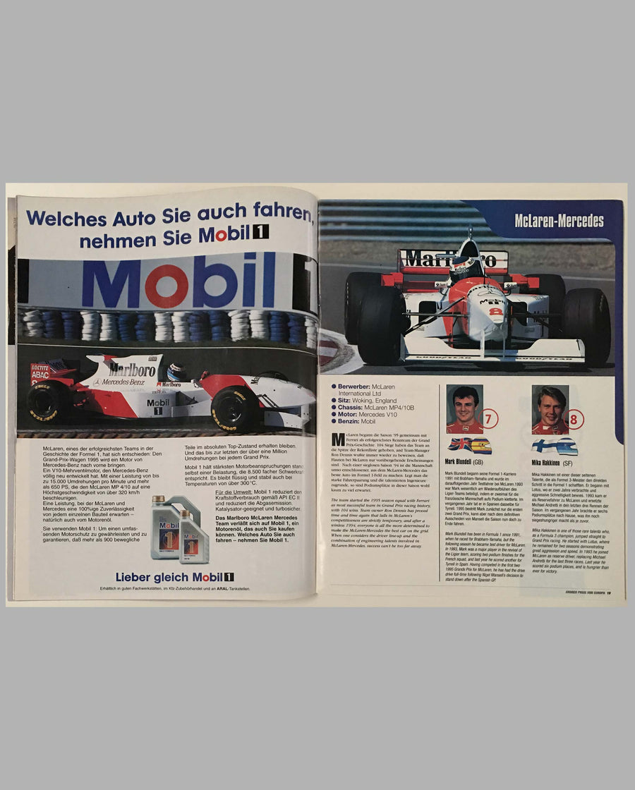 Grand Prix of Europe 1995 official program, autographed, inside 1