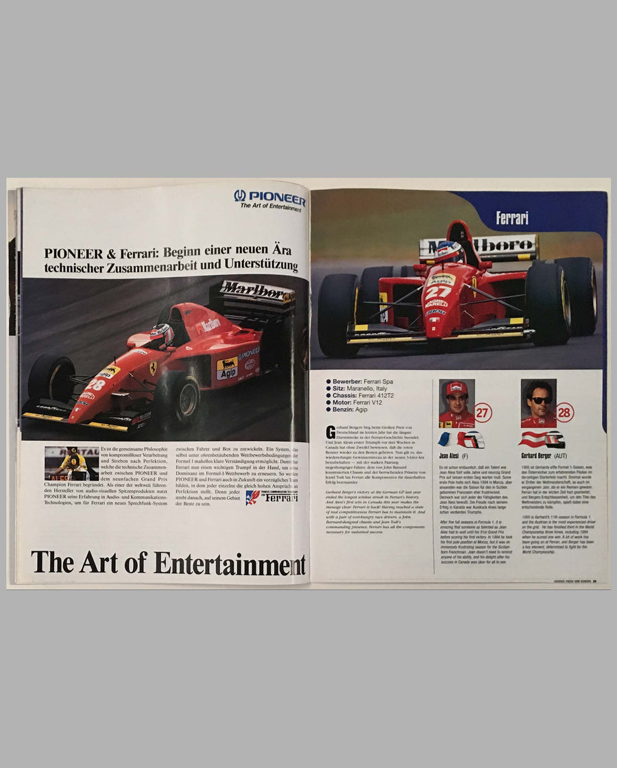 Grand Prix of Europe 1995 official program, autographed, inside 2