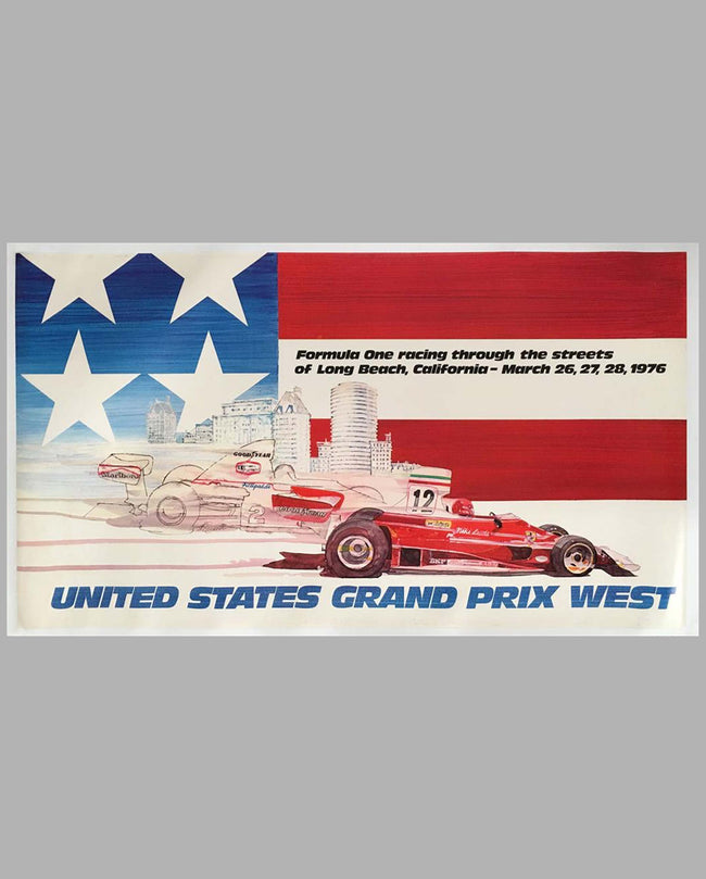 Grand Prix of Long Beach 1976 original event poster by Chuck Queener