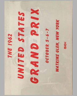 Grand Prix of the USA at Watkins Glen original 1962 program
