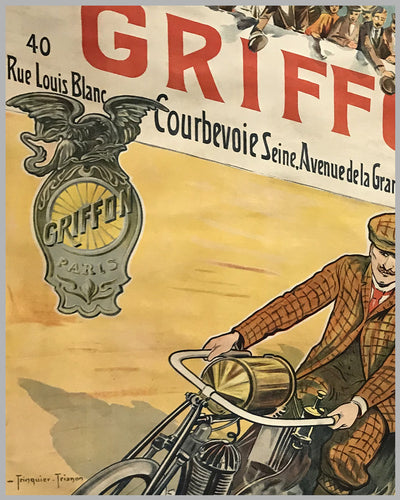 Griffon motorcycles, bicycles large original poster ca. 1910 by Trinquier Trianon 2