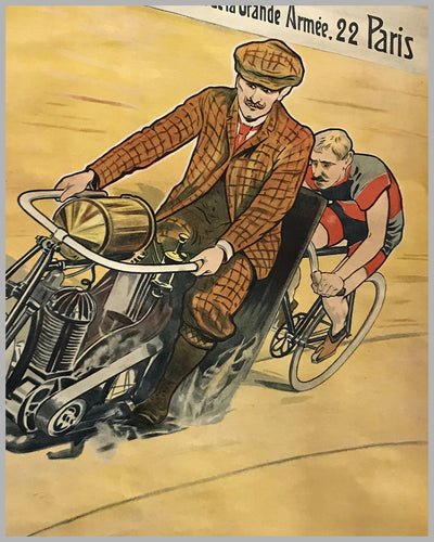 Griffon motorcycles, bicycles large original poster ca. 1910 by Trinquier Trianon 3