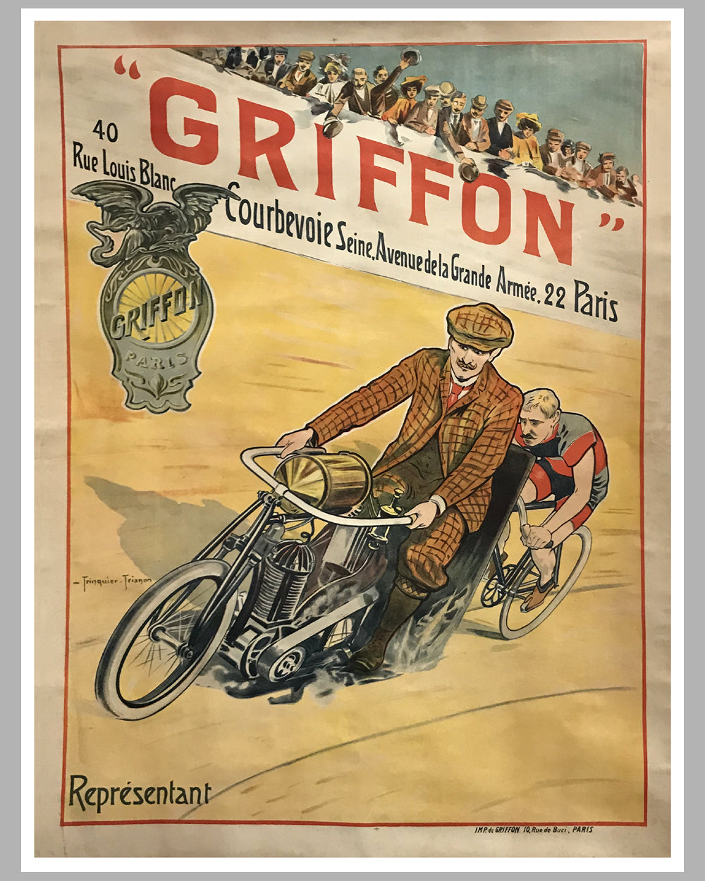 23 - Griffon motorcycles, bicycles large original poster ca. 1910 by Trinquier Trianon