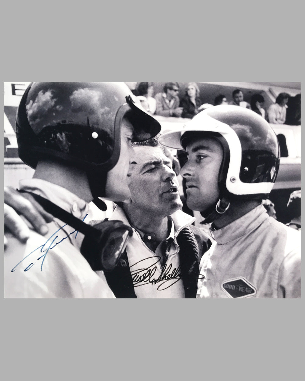 Dan Gurney, Carroll Shelby and Bob Bondurant b&w photograph on rag paper
