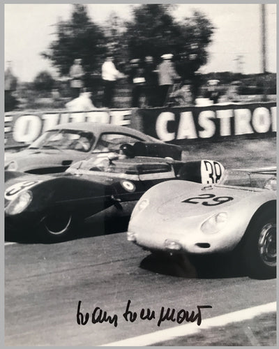 Jean Behra and Hans Hermann; Porsche RSK b&w photograph at the 24 Hours of Le Mans in 1958 2