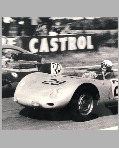Jean Behra and Hans Hermann; Porsche RSK b&w photograph at the 24 Hours of Le Mans in 1958 3