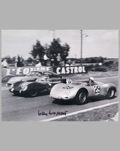 Jean Behra and Hans Hermann; Porsche RSK b&w photograph at the 24 Hours of Le Mans in 1958