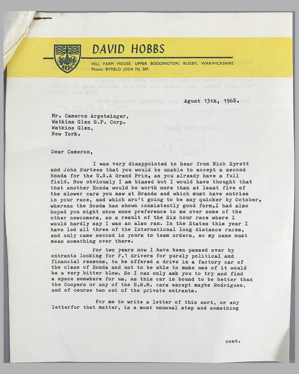 05 - David Hobbs and Watkins Glen race track correspondence -  Est. $150-$200
